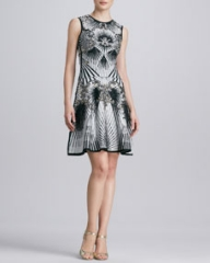 Herve Leger Beaded Printed Bandage Dress at Neiman Marcus