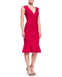 Herve Leger Camillia Flare-Hem Bandage Dress at Neiman Marcus