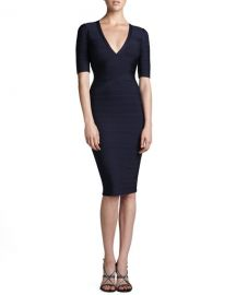 Herve Leger Half-Sleeve V-Neck Bandage Dress at Bergdorf Goodman