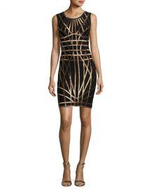 Herve Leger Romee Metallic Caging Bodycon Dress at Neiman Marcus
