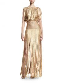 Herve Leger Sleeveless Metallic Fringe Gown  Gold Champagne at Neiman Marcus