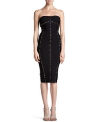 Herve Leger Studded Strapless Dress at Neiman Marcus