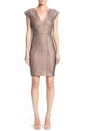 HerveLeger WoodgrainMetallicFoil Bandage Dress at Nordstrom