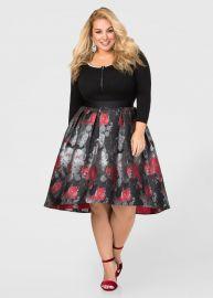 Hi-Lo Winter Floral Skirt by Ashley Stewart at Ashley Stewart