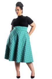 High Waist Green Swing Skirt by Jibri at Jibri