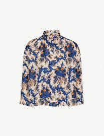 High-neck printed silk blouse by Sandro at Selfridges