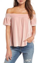 Hinge Off the Shoulder Velvet Top at Nordstrom Rack
