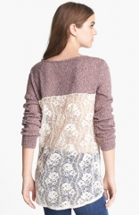 Hinge Crocheted Trim Sweater in brown at Nordstrom