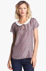 Hinge Dot Print Collar Top at Nordstrom