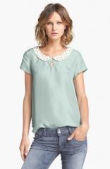 Hinge Embellished Collar Silk Top at Nordstrom