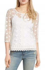 Hinge Embroidered Mesh Top at Nordstrom