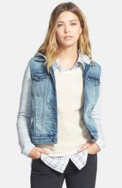 Hinge Mixed Media Hooded Jacket at Nordstrom