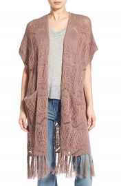 Hinge Open Knit Fringe Long Cardigan at Nordstrom
