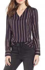 Hinge Twill  amp  Lace Stripe V-Neck Top   Nordstrom at Nordstrom