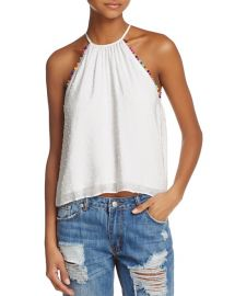 Honey Punch Pom-Pom Trim Swiss Dot Tank at Bloomingdales