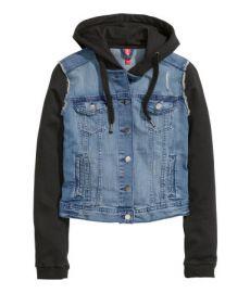 Hooded Denim Jacket in Denim Blue at H&M