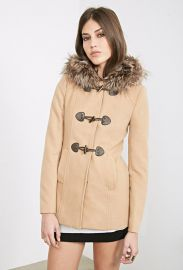 Hooded Toggle Topcoat  Forever 21 - Camel at Forever 21
