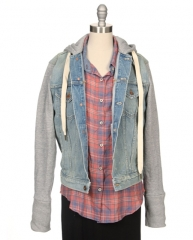 Hooded denim sweatshirt sleeve jacket at Ron Herman