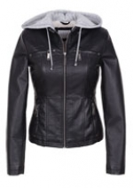 Hooded faux leather jacket at Delias