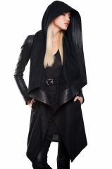 Hooded wool coat at Skingraft