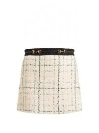 Horsebit cotton-blend boucl  -tweed mini skirt at Matches
