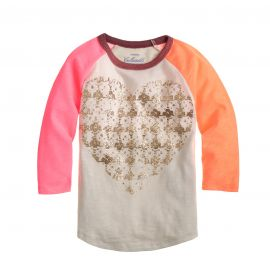 Houndstooth heart baseball tee at J. Crew