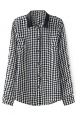 Houndstooth shirt with leather collar at Romwe