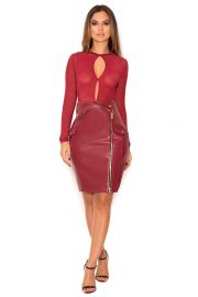 House of CB SIYANNA WINE VEGAN LEATHER MINI SKIRT at House of CB