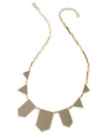 House of Harlow Gold-Tone Khaki Leather Station Necklace at Macys
