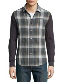 Howe Plaid Button-Down Shirt w Knit Sleeves at Last Call