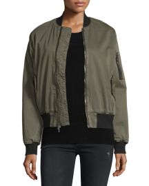 Hudson Gene Bomber Jacket Trooper Green at Neiman Marcus