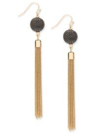INC Gold-Tone Pavé Ball & Tassel Drop Earrings at Macys
