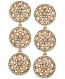 INC International Concepts  Pavé & Colored Stone Flower Triple Drop Earrings at Macys