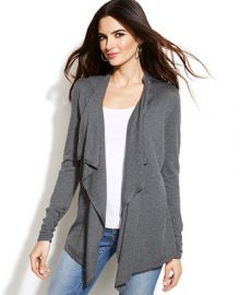INC International Concepts Draped Asymmetrical Open-Front Cardigan - Sweaters - Women - Macys at Macys
