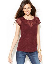 INC International Concepts Embroidered Illusion-Sleeve Top at Macys