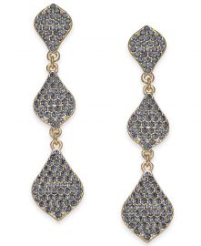 INC International Concepts Gold-Tone Crystal Triple Drop Earrings at Macys