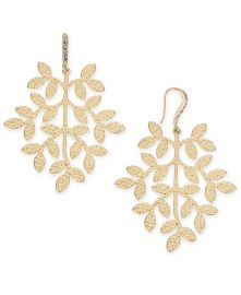 INC International Concepts Gold-Tone Leaf Drop Earrings at Macys