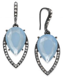 INC International Concepts Hematite-Tone Pave & Blue Stone Drop Earrings at Macys
