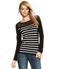 INC International Concepts Long-Sleeve Striped Mesh Sweater - Women - Macys at Macys