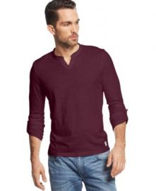 INC International Concepts Modicum Split-Neck T-Shirt in Red at Macys