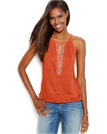 INC International Concepts Petite Beaded Keyhole Linen Halter Top in Orange at Macys