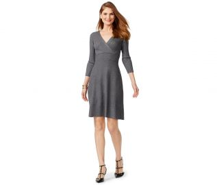 INC International Concepts Petite Ribbed-Contrast Sweater Dress in Medium Heather Grey at Macys