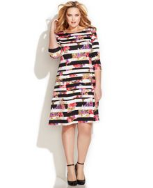 INC International Concepts Plus Size Mixed-Print A-Line Dress at Macys