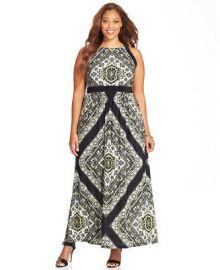 INC International Concepts Plus Size Printed Halter Maxi Dress - Dresses - Plus Sizes - Macys at Macys