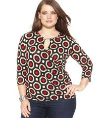 INC International Concepts Plus Size Printed Keyhole Faux Wrap Top at Macys