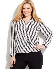 INC International Concepts Plus Size Striped Faux-Wrap Blouse at Macys