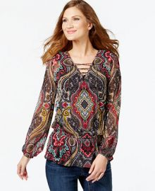 INC International Concepts Printed Lace-Up Peasant Top Only at Macys at Macys