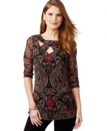 INC International Concepts Printed Mesh Cutout Top at Macys