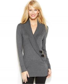 INC International Concepts Shawl-Collar Buckle Sweater in Grey at Macys