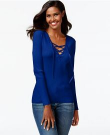 INC International Concepts Solid Lace-Up Ribbed Sweater at Macys